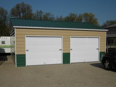 2-Car Enclosed Garage | Vertical Roof | 22W x 26L x 9H | Side Entry