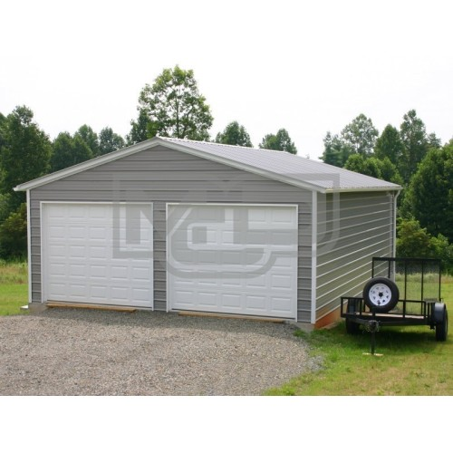 2-Car Custom Garage | Vertical Roof | 20W x 26L x 9H | Metal Garage