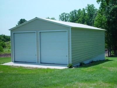 Vertical Roof Metal Garage   Vertical Roof   22W x 31L x 9H   2-Car
