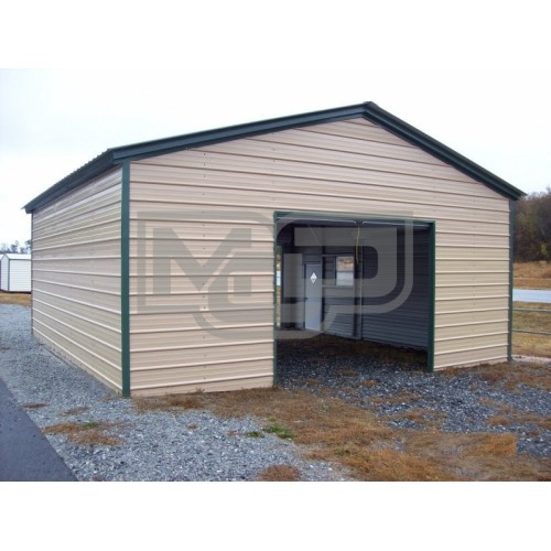 Single Bay Metal Garage | Vertical Roof | 20W x 26L x 9H | 1-Car