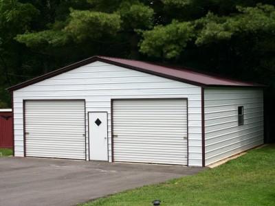 2-Vehicle Metal Garage | Vertical Roof | 24W x 36L x 9H | Enclosed