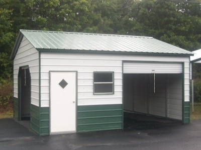 Enclosed Metal Garage | Vertical Roof | 22W x 21L x 9H |  Steel Garage