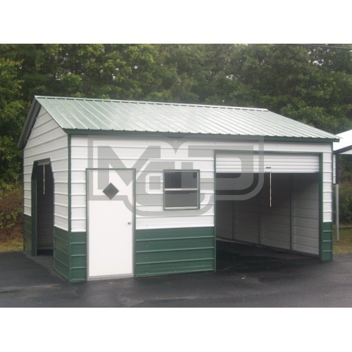 Enclosed Metal Garage | Vertical Roof | 22W x 21L x 9H |  Steel Garage