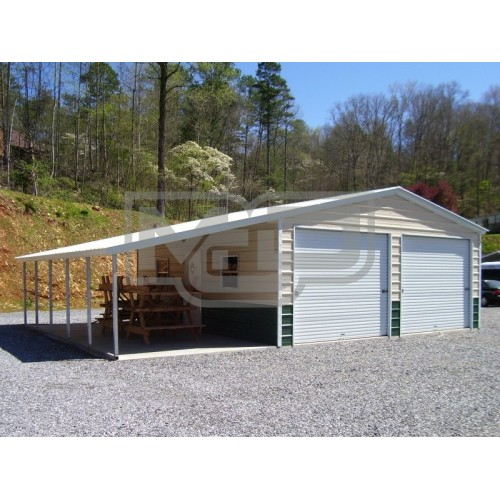 Metal Garage with Lean-to | Vertical Roof | 18W x 26L x 9H