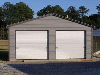 Enclosed Steel Garage   Vertical Roof   20W x 21L x 9H   2-Car