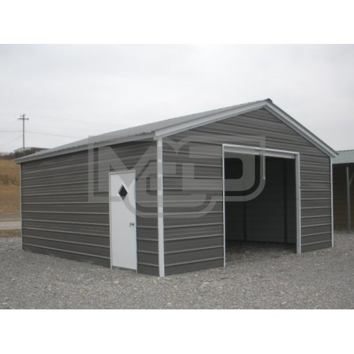 Enclosed Metal Garage | Vertical Roof | 20W x 21L x 9H |  1-Car