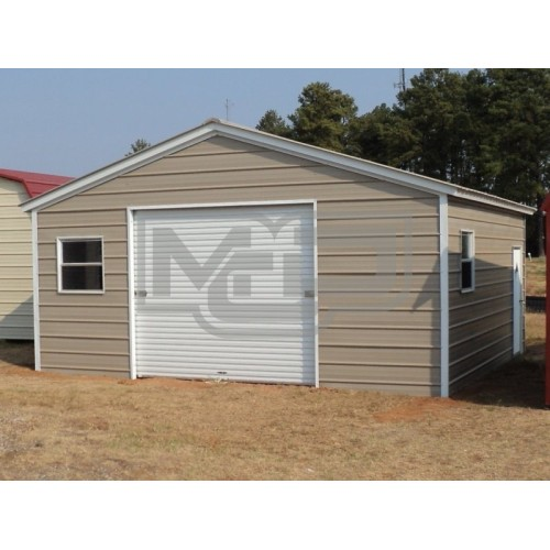 Metal Garage | Vertical Roof | 20W x 21L x 8H | 1-Car