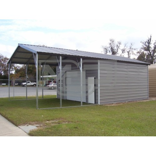 Utility Storage Garage | Vertical Roof | 22W x 36L x 10H | Combo