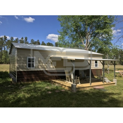 Metal Hunting Cabin | Boxed Eave Roof | 24W x 36L x 9H | Lean-to Porch
