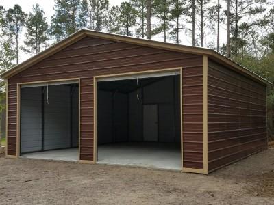 2-Car Garage | Vertical Roof | 24W x 26L x 9H | Metal Garage