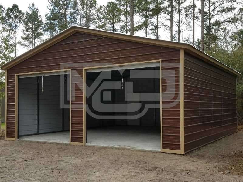 2-Car Garage | Vertical Roof | 24W x 26L x 9H | Metal Garage