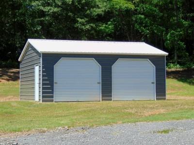 Side Entry Metal Garage | Vertical Roof | 20W x 26L x 9H |  2-Bay