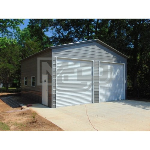 Steel Garage Building | Vertical Roof | 24W x 36L x 12H | 2-Bay