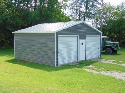 2-Car Steel Garage   Vertical Roof   24W x 26L x 9H   Enclosed