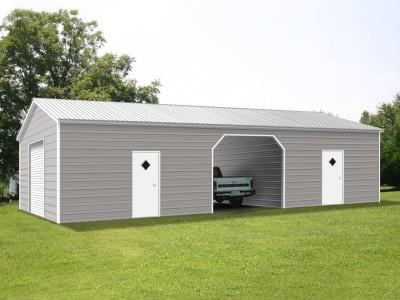 Enclosed Steel Building | Vertical Roof | 24W x 51L x 9H | Metal Garage